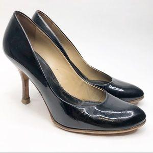Loewe Black Patent Leather Wood Heel Pumps